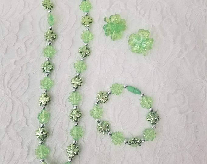 Child Size Saint Patrick's Day Jewelry ~ Leprechaun ~ Bracelet ~ Clip On Earrings ~ Necklace