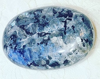 "No Reserves! Large Black Moonstone Palm Stone ~ 2.6""x 1.6"" ~ Spellcast ~ Reiki Charged ~ Third Eye Opener ~ Chakra Healing"