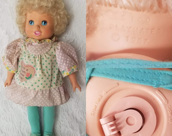 Vintage WORKING Baby Grows Doll 1987 Playmates ~ Wind Up On Back ~ Blonde Hair Blue Eyes Baby Doll