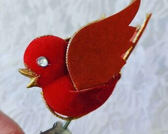 Mid Century Vintage Flocked Jeweled Red Bird Christmas Ornament Wire Feet Bird Ornaments ~ Craft Supplies