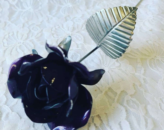 Vintage 1990s Purple Silver Metal Rose Long Stem ~ Cool Decor ~ Gothic ~ Metal Flower