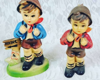 Set of Two Vintage 1960s Plastic Hummel Style Hikers Hiking Backpacking ~ Two Boys ~ Figurines ~ Made in Hong Kong