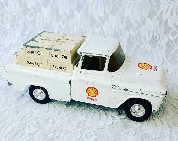 Vintage Shell Oil General Motors Ford Truck Piggy Bank ~ Diecast ~ Bank Figure Figurine Collectible ~ Advertising
