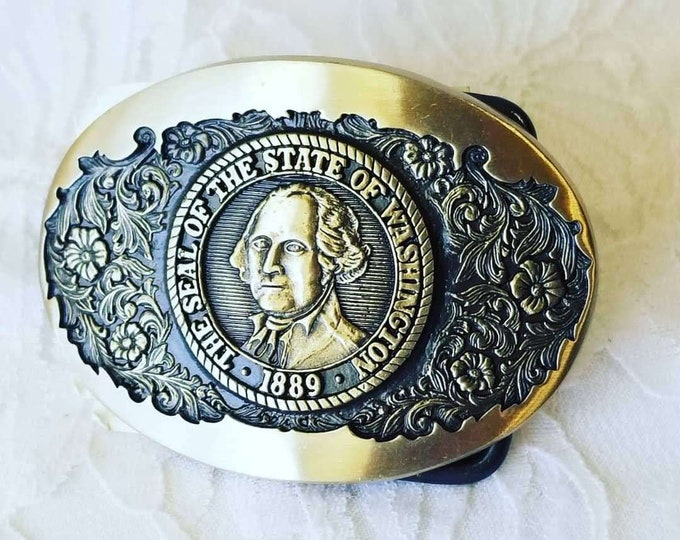 """Ladies Solid Brass Etched Belt Buckle ~ """"State of Washington"""" ~ Cowboy ~ Cowgirl ~ Belt Buckle ~ New Old Stock"""