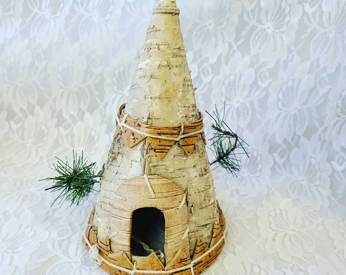 "Cool Handmade Native American Rolled Real Tree Bark Tee Pee Decoration ~ Doll Display ~ 8"" Tall by 5"" Wide ~ Strange and Unusual"