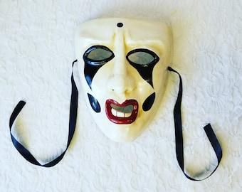 Venetian Male Face Mask ~ Harlequin Mardi Gras Halloween Spooky Mask ~ Paper Mache