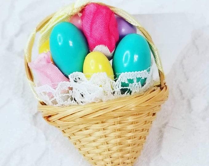 Vintage Handmade Easter Pin Brooch ~ Easter Basket ~ Eggs ~ Ostara Brooch