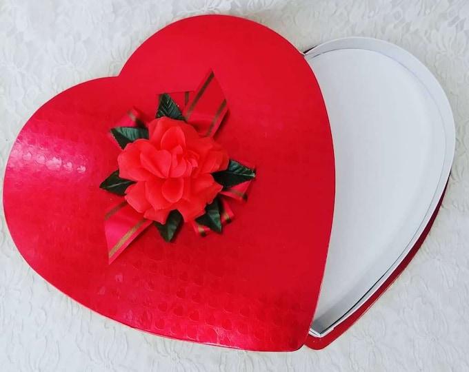 "LARGE 13"" Vintage 1960s Valentine Candy Box Heart Box ~ Silk Rose & Ribbon Candy Box Oaks Mfg Oshkosh ~ FREE Ship USA"