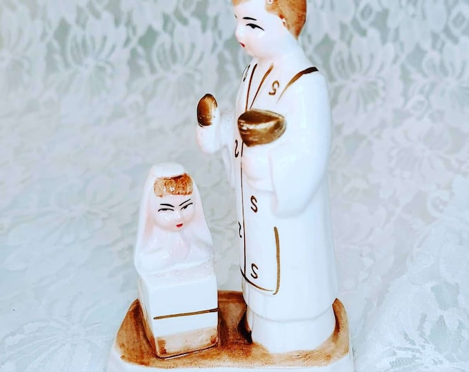 Adorable First Communion Preacher and Girl Figurine ~ Catholic Gift ~ 1950s Figurine ~ Unmarked