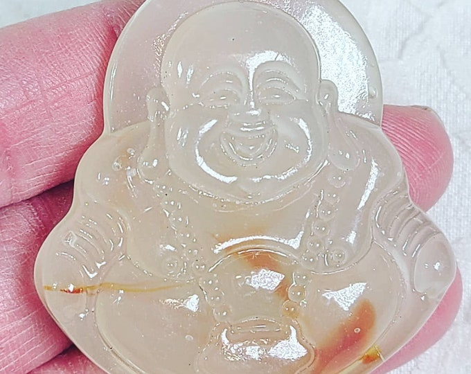Laughing Buddha ~ Chinese Amulet Pendant ~ Hand Carved Agate ~ Healing Stone Necklace ~ Celestial Energy ~ Good Fortune