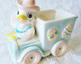 Vintage 1950s Farmer Duck Nursery Collectible Planter ~ Relco Collectible ~ Retro Vintage Nursery Decor ~ Garden ~ Baby Gift