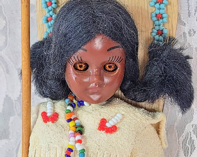 """Carlson Dolls 1950s Vintage 8"""" Doll in Native American Outfit with Papoose ~ Real Leather and Fur, Tagged and Signed by Maker"""