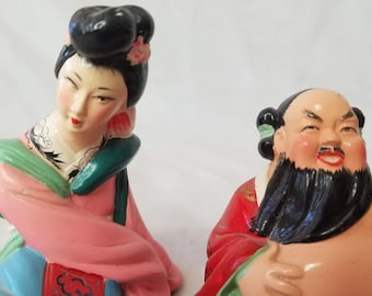 RARE Mid Century 1950s Chinese Asian Porcelain Napco Lefton Norelco? ~ Geisha and Sumo Man ~ Collectible Figurine Set of 2