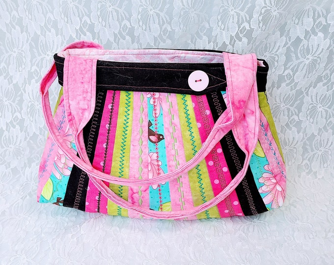 Handmade AMAZING Vintage Style Floral Purse with Bird ~ Shoulder Bag ~ Handbag ~ Perfect for Phone and Essentials ~ OOAK Satchel