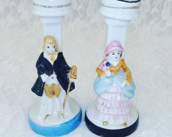 """Victorian Couple ~ Set of Two (2) Mid Century Candle Holders ~ Marked """"Japan"""" ~ Perfect for Smaller Taper Candles"""