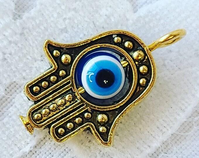 One (1) Gold HAMSA Small Charm Pendant ~ Hamsa Hand, Hamesh, Hamesh Hand, Khamsa, and/or Hand of Fatima ~ Evil Eye Protection Amulet