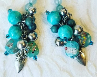 "Handmade Repurposed Lampwork Bead Turquoise ""Dagger"" Earrings ~ Send Your Message Loud and Clear ~ Beaded Dangle Earrings"