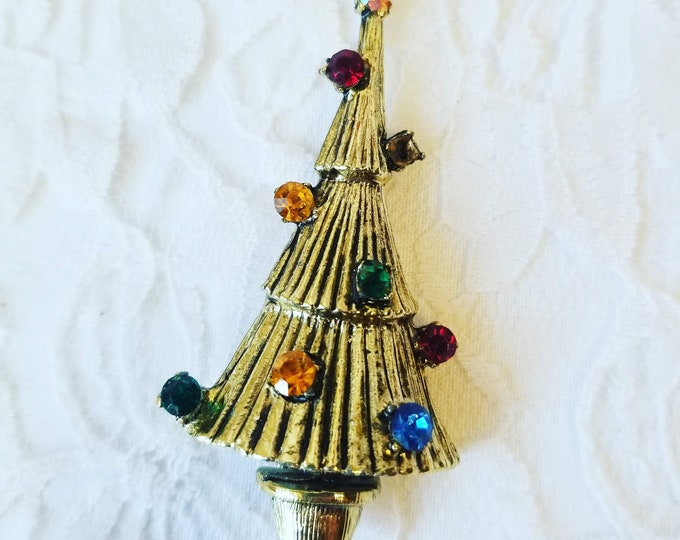 Vintage Goldtone Christmas Tree Brooch ~ Christmas Costume Jewelry ~ Holiday Jewelry ~ As-Is Missing One Rhinestone