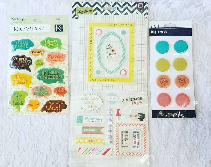 Lot of Textured and Embossed Stickers and BRADS ~ 3 Packs ~ Scrapbooking Supplies for Paper Crafts, Card-making, Scrapbooks