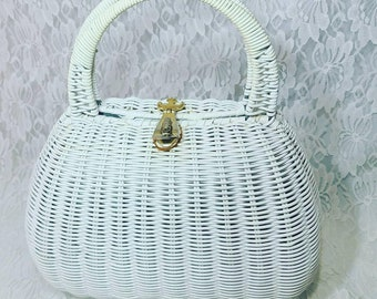 Vintage 1950's ROCKABILLY White Wicker Box Clutch Purse Handbag ~ Vintage Wedding ~ Vintage Prom