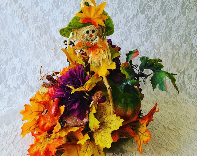 "Cute 14"" Scarecrow Faux Silk Floral Arrangement in Basket ~ Halloween Arrangement Centerpiece ~ Fall Decor Decorations ~ Floral Arrangement"
