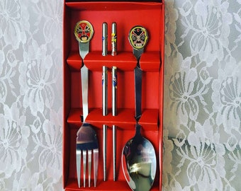Vintage Chinese Place Setting From the Beijing Opera ~ Chinese Souvenir ~ Chopsticks , Fork and Spoon