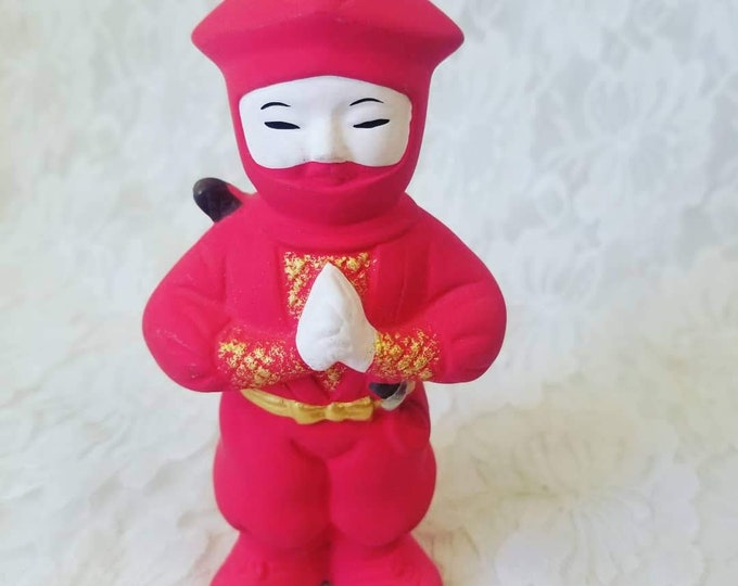 "Vintage Samurai Ninja Ningyō Girl? Doll ~ 5"" Figurine ~ Made in Japan ~ Terracotta Statue Figurine ~ Japanese Traditional Clay Doll"
