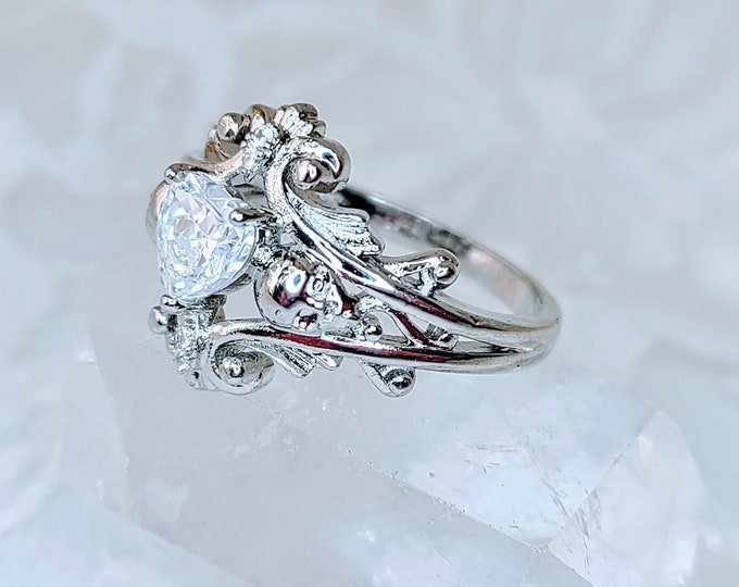 LAST ONE! Silver Skull Ring with Cubic Zirconia ~ Gift for Best Friends ~ Stamped 925 ~ Comes in Gift Box