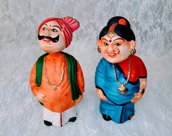 Set of Two Clay Vintage Porcelain Ceramic Bobblehead Nodder Figure Statue Figurines ~ India ~ Indian Couple ~ Indian Parents ~ Lovers