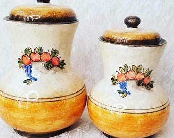 Vintage Hand Painted Horchow Art Pottery Canister Jars w/ Lids ~ Made in Italy ~ Italian Decor Rustic Kitchen