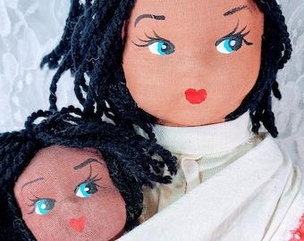"No Reserves Shondra and Baby Derrick Haunted Doll ~ 17"" African American 1950s Cloth Handmade ~ Paranormal ~ South Carolina"