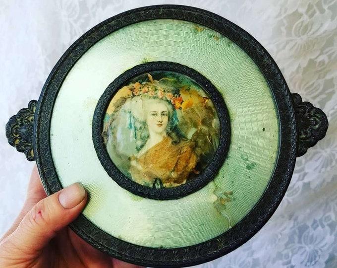 Antique Art Deco Vintage Vanity Tray ~  PNCW Art Nouveau Lidded Metal Vanity/Trinket/Box/Dish with Portrait Cameo ~ Divided Glass Insert