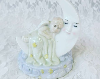 Porcelain Crescent Moon with Baby Angel Figurine Statue ~ Vintage K's Collection Fairy Garden Décor ~ Sleeping Angel Cherub Moon and Stars