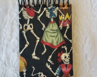 Dia De Los Muertos Day of The Dead Black Gel Pen Spiral Notepad ~ Great for Chalk Pens ~ Black Lined Paper