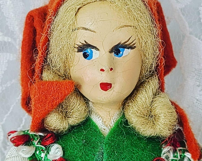 """FRANCE 5 Inch Stockinette Doll ~ Antique Souvenir Hand Painted Face 5"""" ~ French National Dress ~ 1940's ~ Tiny ~ Lago de Garda"""
