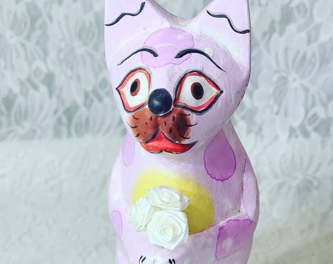 Alebrijes Cat Mexican Folk Art ~ Alebrije ~ Made in Mexico ~ Signed ~ Hand Painted ~ Artist Unknown