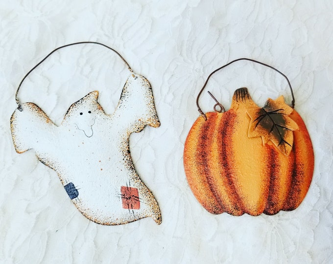 "Set of Two Metal Primitive Rustic Halloween Ornaments ~ 4"" by 3"" ~ Fall Decor ~ Halloween Decoration ~ Halloween Ghost and Pumpkin"