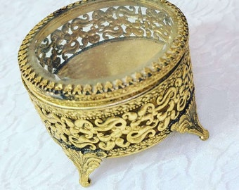 French Antique Jewelry Casket ~ Sold As-Is ~  Trinket Box Brass Jewelry Box ~ Valentines ~ Rosary