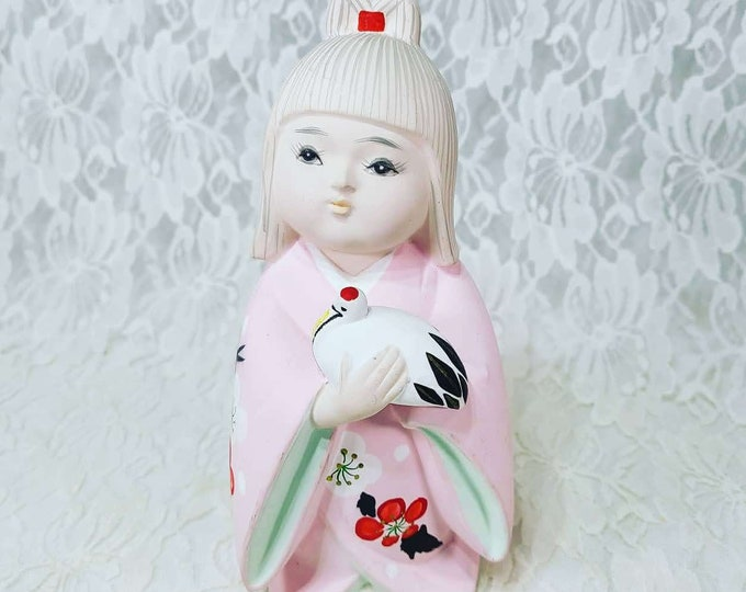 """Vintage Ningyō Doll ~ 7.5"""" Ceramic Japanese Figurine ~ Made in Japan ~ Terracotta Statue Figurine ~ Japanese Traditional Clay Doll"""