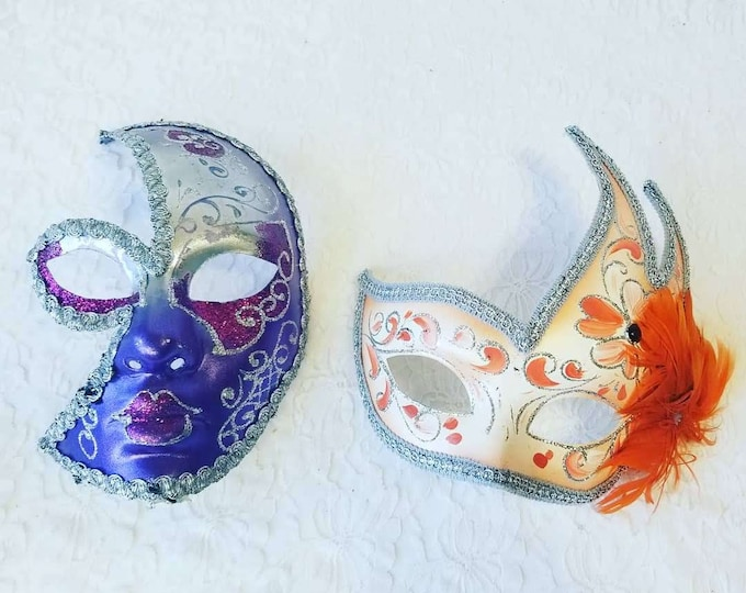 Set of Two (2) Venetian Masks ~ Paper Mache ~ Theatrical Theater Mask ~ For Home Decor or Cosplay Costume LARP