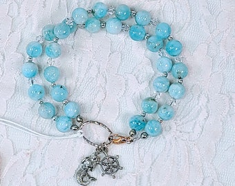OOAK MERMAID Bracelet ~ Blue Aquamarine Round Beads and Swarovski Crystal Beads & Sterling Silver Bali Bead Accents