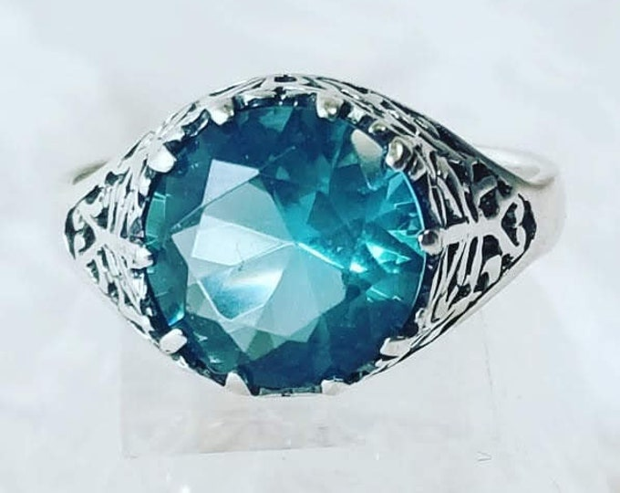 Victorian Filigree 3CT Teal Blue Topaz 925 Solid Sterling Silver Art Deco Style Ring ~ Size 8 ~ Beautiful