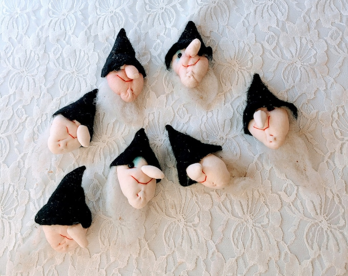 One (1) Vintage Witchy Stockinette Doll Head Magnets ~ Handmade ~ Halloween Witch ~ Troll ~ Gnomes