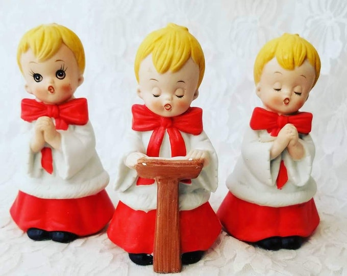 3 Piece SET Rare Vintage HOMCO Christmas Choir Boys Ceramic Figure Figurines ~ Singing Choir Boy ~ Altar Boy ~ Original Box 1980s