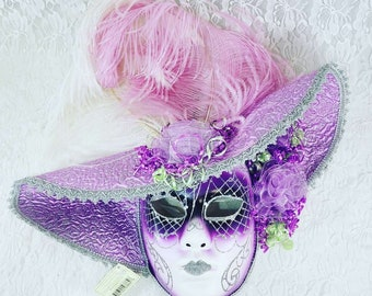 "Vintage Purple and Pink and Silver 22"" Venetian Mask ~ Showstoppers with Tags ~ Harlequin Mardi Gras Halloween Mask ~ Collector's Mask"