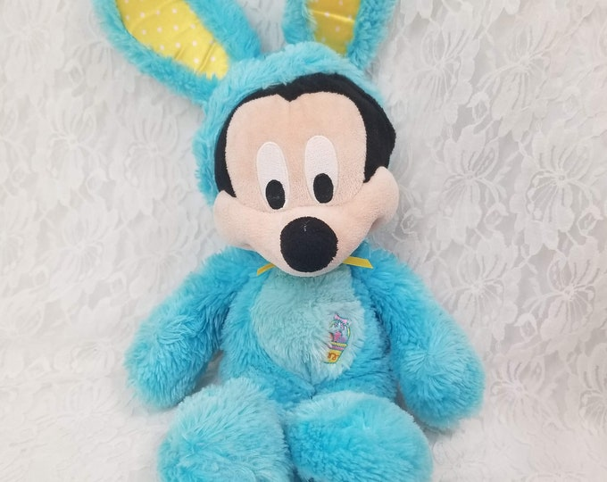 "Vintage Mickey Mouse Doll Dressed in Bunny Costume for Easter  ~ 14"" Plush ~Disney Store in LONDON Exclusive Limited Edition Easter Mickey"