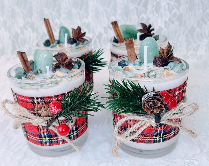 No Reserves Limited Edition CHRISTMAS BLESSINGS Candle ~ Hand Poured Soy Wax Spellcast ~ Charged Crystals & Fresh Herbs