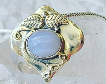 OOAK Artisan Made Blue Lace Agate Sterling Silver Pendant Necklace ~ Marked 925 ~ Crystal Healing Energy ~ Made in India