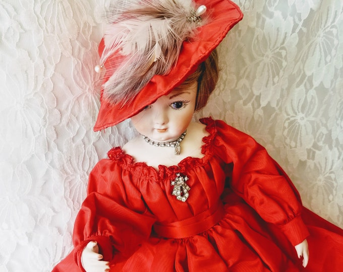 """Amazing Intricate Huret Paris Bisque Doll 19"""" ~ Cloth Body, Bisque Limbs ~ Signed by Artist ~ Collectors DREAM ~ Human Hair"""