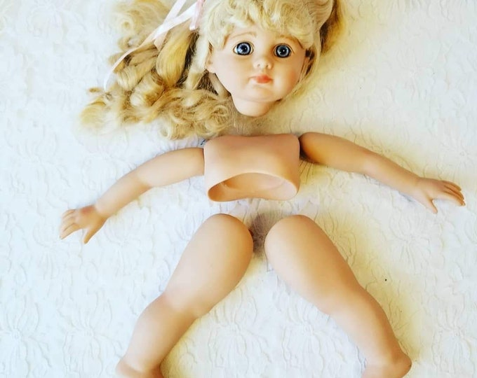 """Vinyl Doll Parts ~ Effanbee Doll 16"""" ~ Doll Making Set ~ Limbs, Shoulder plate, and Head ONLY ~ DIY Doll Making ~ Doll Parts"""